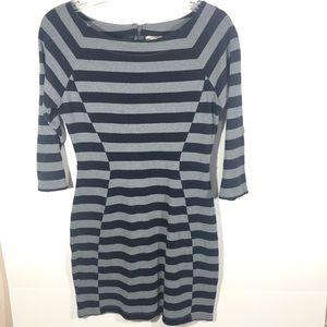 Gap Blue & Gray Striped 3/4 Sleeve Dress
